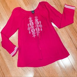 NWT New Directions Magenta Embroidered Blouse